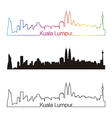 Kuala Lumpur skyline linear style with rainbow vector image