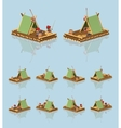 Low poly wooden raft vector image vector image
