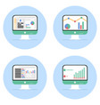 monitoring of analytics icons vector image vector image