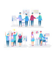 office workers flat characters set employees vector image