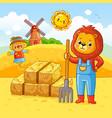 on a farm theme in cartoon vector image