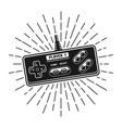 retro gamepad with rays vector image vector image