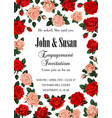 rose flowers save the date greeting card vector image vector image