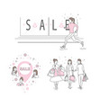 running woman in line art style vector image vector image