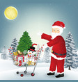 santa claus with christmas object in shopping cart vector image