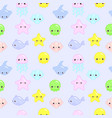 seamless pattern with funny sea animals vector image