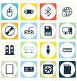 set of 16 computer hardware icons includes vector image vector image