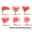 set valentines day inspired trees vector image vector image