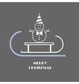 snowman on a sled vector image vector image