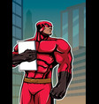 superhero holding book in city vertical vector image vector image