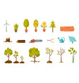 trees and plant cartoon set vector image