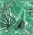 tropical palm monstera leaves seamless pattern vector image vector image