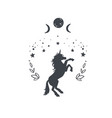 unicorn in night with starry sky and moon vector image vector image