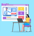 videoplayer in social network woman sitting at vector image