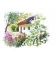 Watercolor rural village in green summer day vector image