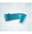 Winter banner blue realistic ribbon and snow vector image