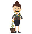 woman holding plant on white background vector image