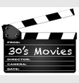30s movies clapperboard vector image vector image