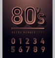 80s number copper color vintage sans serif vector image