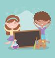 back to school student boy and girl blackboard vector image vector image