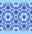 blue flower kaleidoscope pattern vector image vector image