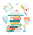 books stack open engrave books concept hand vector image