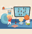 boy gamers little men playing video games cute vector image vector image