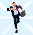 businessman runs looking at his watch vector image