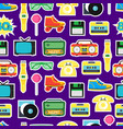 cartoon eighties style symbol background pattern vector image