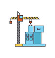 construction crane building line icon concept vector image