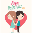 couple with heart and rose vector image vector image