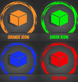 cube icon Fashionable modern style In the orange vector image vector image