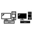 desktop computer line and glyph icon pc vector image vector image