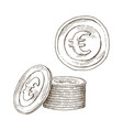 doodle icons coins on isolated white vector image