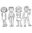 doodles characters for happy men and women vector image vector image