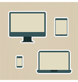 Electronic devices vintage icons set vector image
