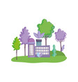 factory building nature trees ecology vector image
