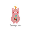 fairy pig holding jar with stars vector image