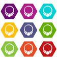 fashion bracelet icons set 9 vector image vector image