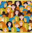 female heads seamless pattern female faces vector image vector image