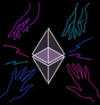 flat ethereum neon banner design modern vector image vector image