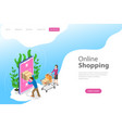 flat isometric landing page template for vector image