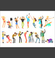 flat set of people taking pictures selfie vector image
