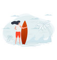 girl on a beach holding surfboard vector image
