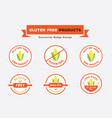 gluten free products badge design with corn vector image vector image