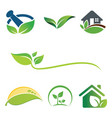 greem leaf nature set logo vector image