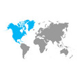 grey world map north america blue color vector image