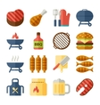 grill and bbq flat icons vector image vector image