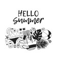 hand drawn summer quote and actual tropical vector image vector image