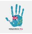 Handprint with the Flag of Tuvalu in grunge style vector image vector image